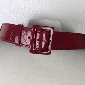 Women's Red Patent Leather Belt Size M